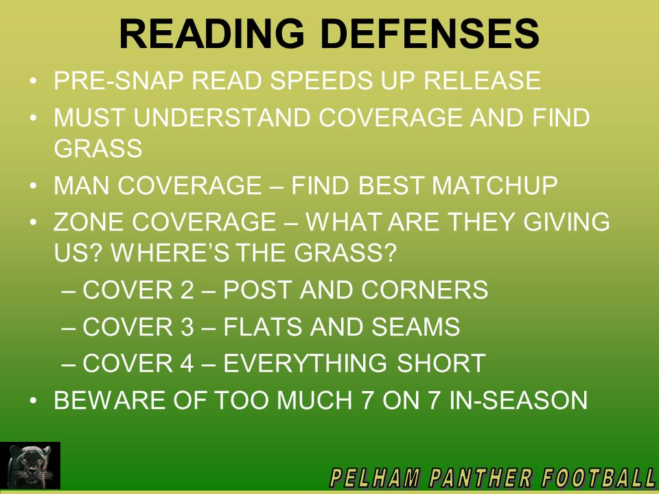 READING DEFENSES PRE-SNAP READ SPEEDS UP RELEASE