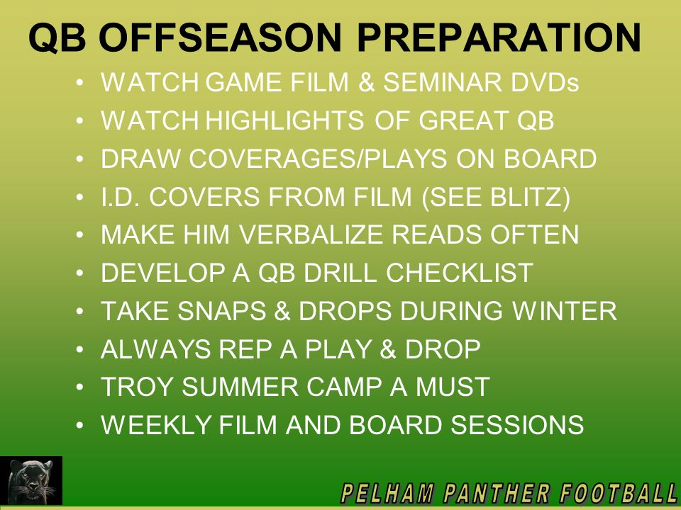 QB OFFSEASON PREPARATION