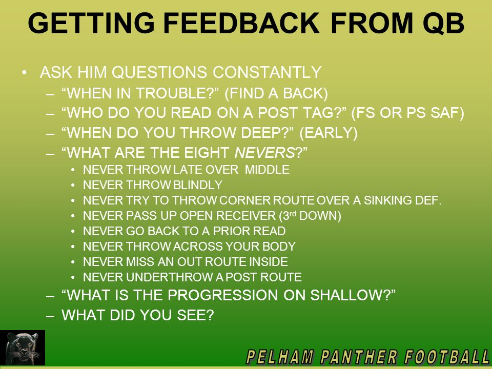 GETTING FEEDBACK FROM QB