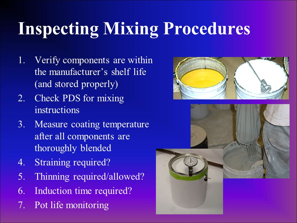Inspecting Mixing Procedures
