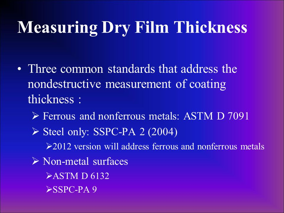 Measuring Dry Film Thickness