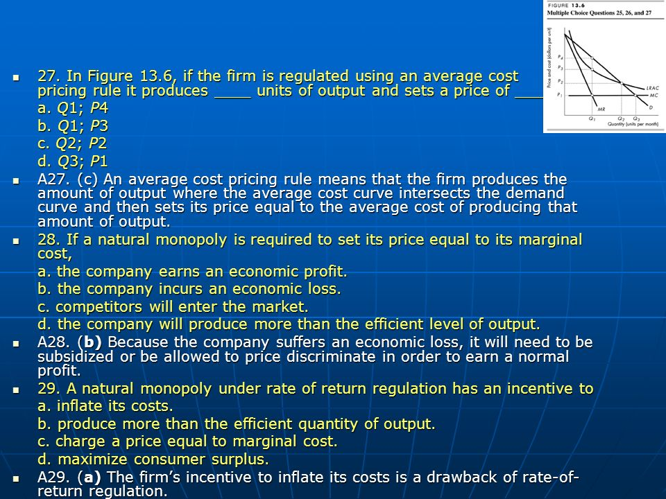 27. In Figure 13.6, if the firm is regulated using an average cost pricing rule it produces ____ units of output and sets a price of ____.