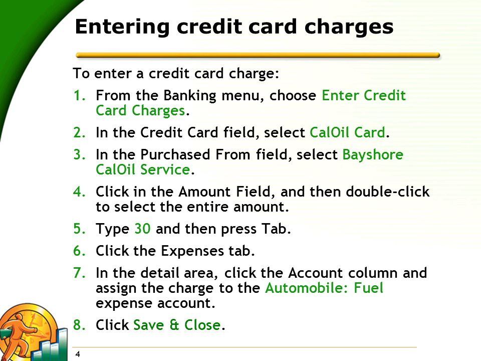 Entering credit card charges