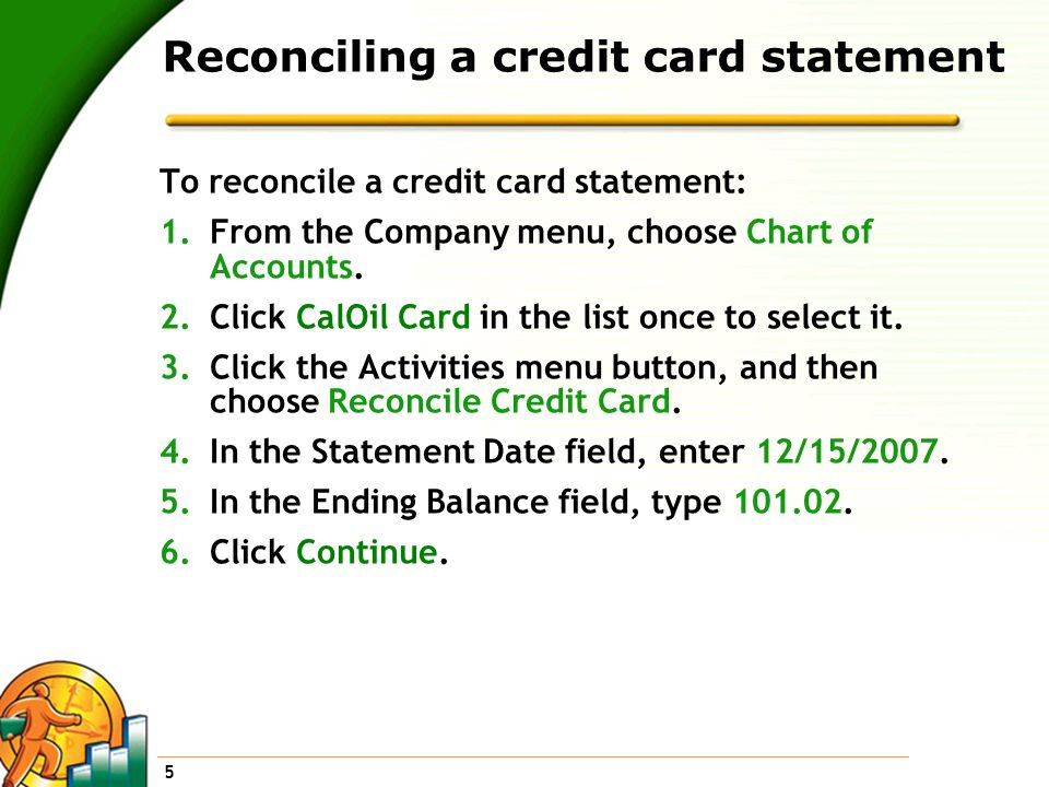 Reconciling a credit card statement