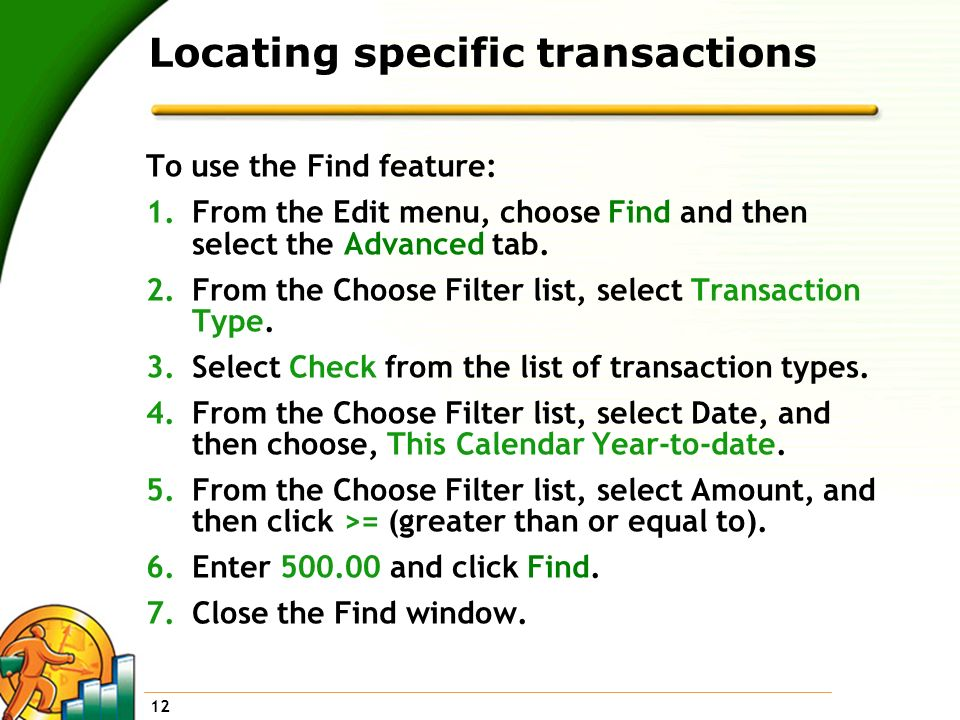 Locating specific transactions