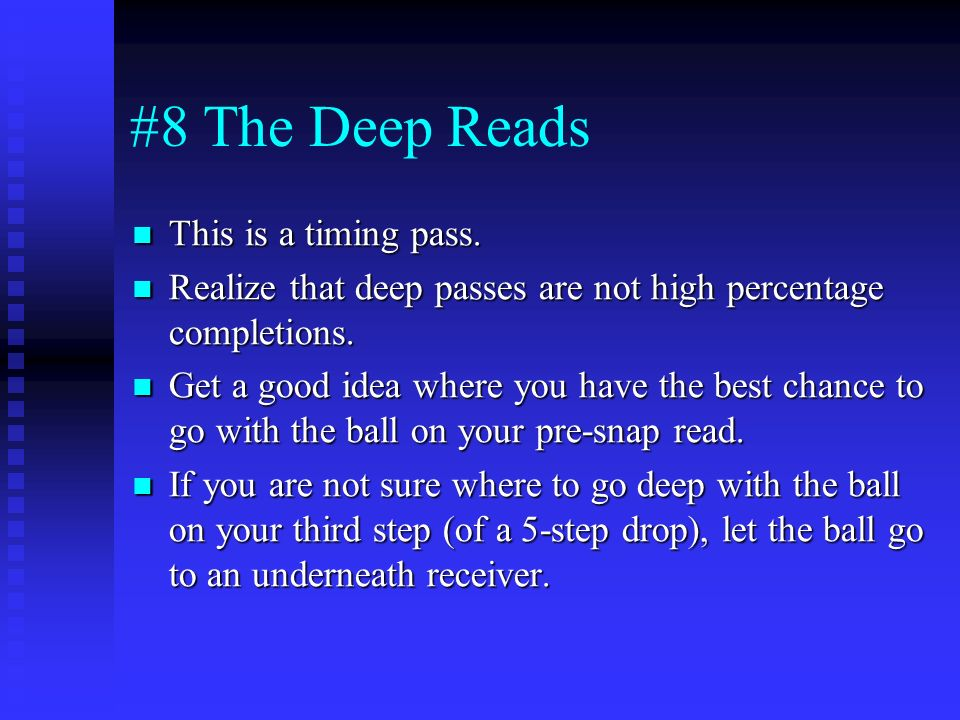 #8 The Deep Reads This is a timing pass.