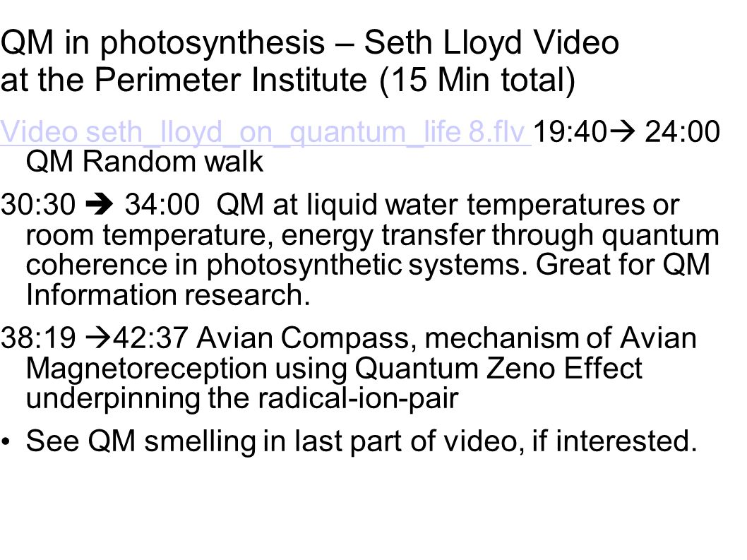 QM in photosynthesis – Seth Lloyd Video at the Perimeter Institute (15 Min total)