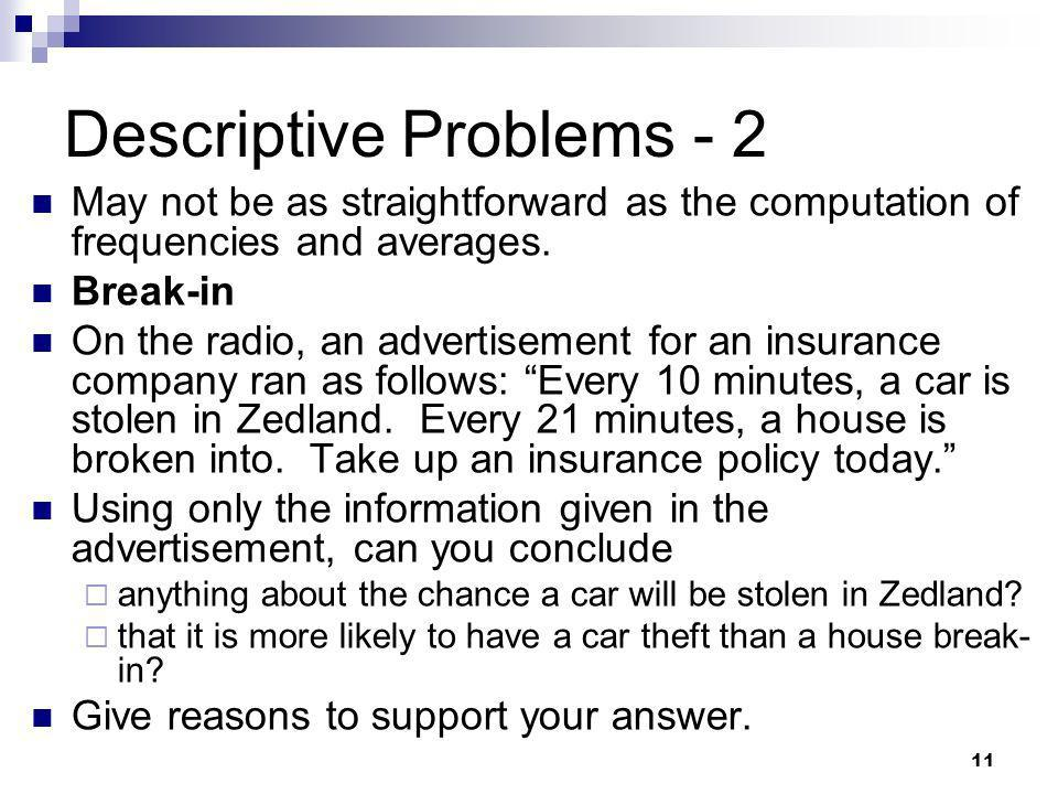 Descriptive Problems - 2