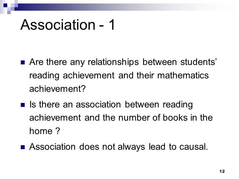 Association - 1 Are there any relationships between students' reading achievement and their mathematics achievement