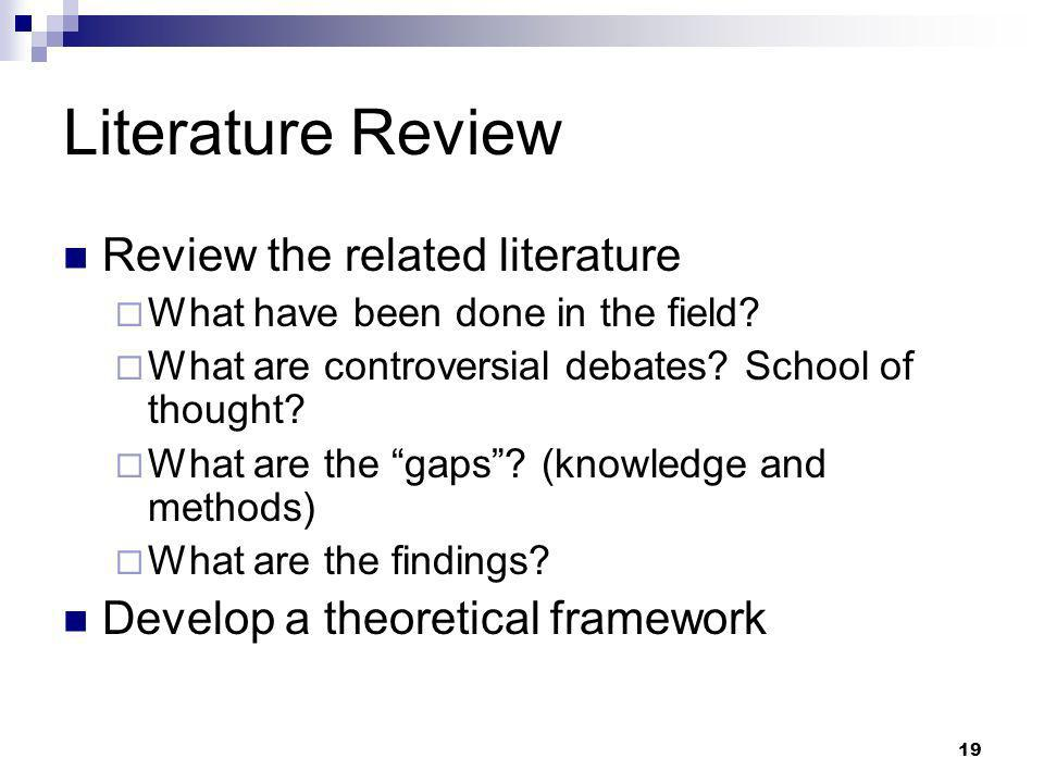 Literature Review Review the related literature