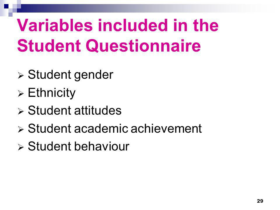 Variables included in the Student Questionnaire