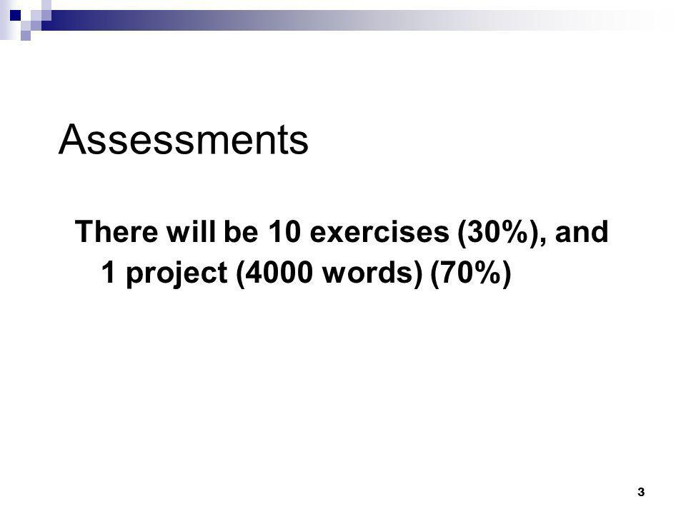 Assessments There will be 10 exercises (30%), and 1 project (4000 words) (70%)