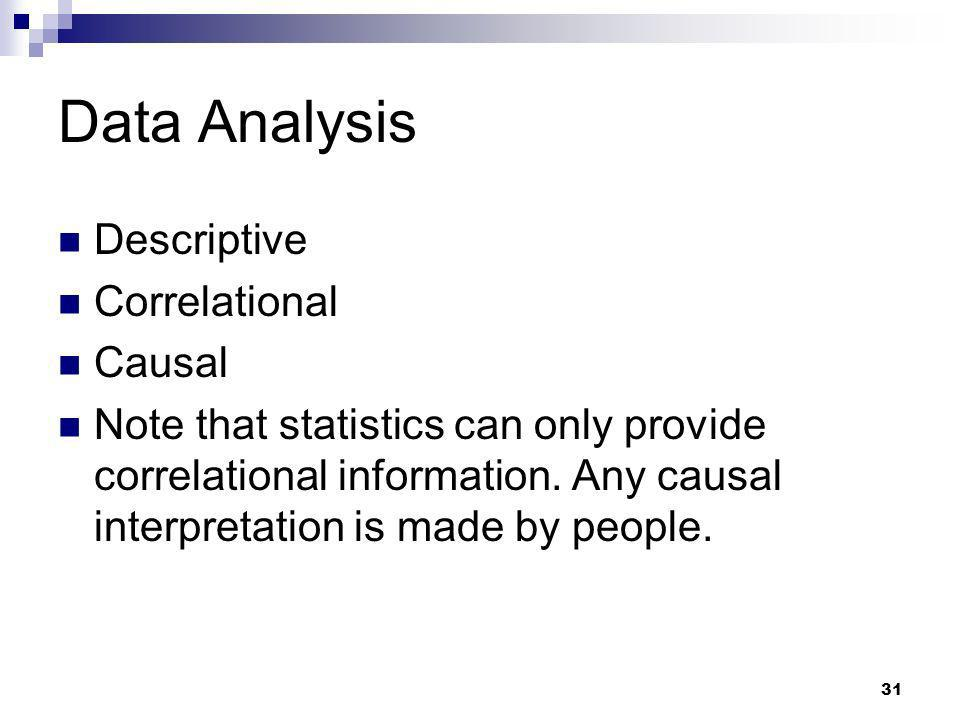 Data Analysis Descriptive Correlational Causal