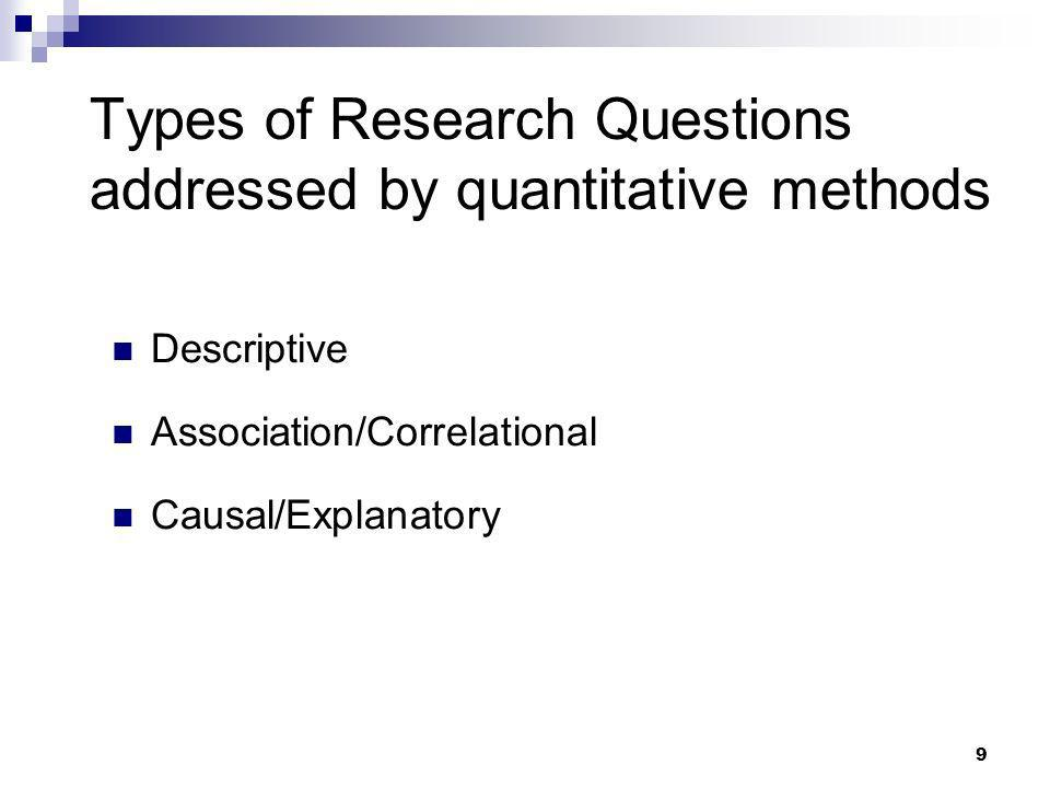 Types of Research Questions addressed by quantitative methods