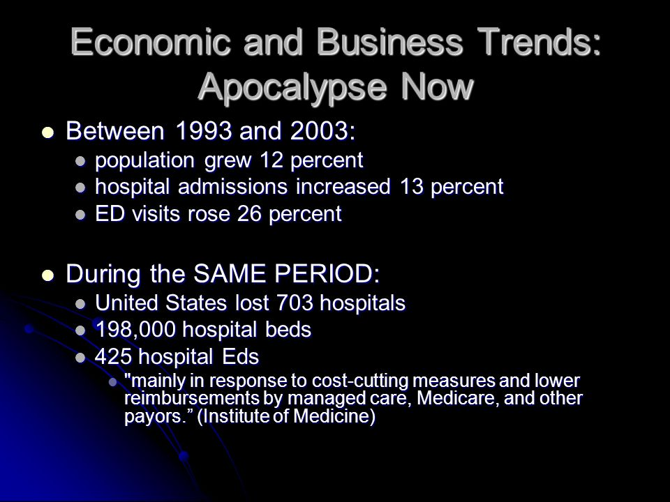 Economic and Business Trends: Apocalypse Now