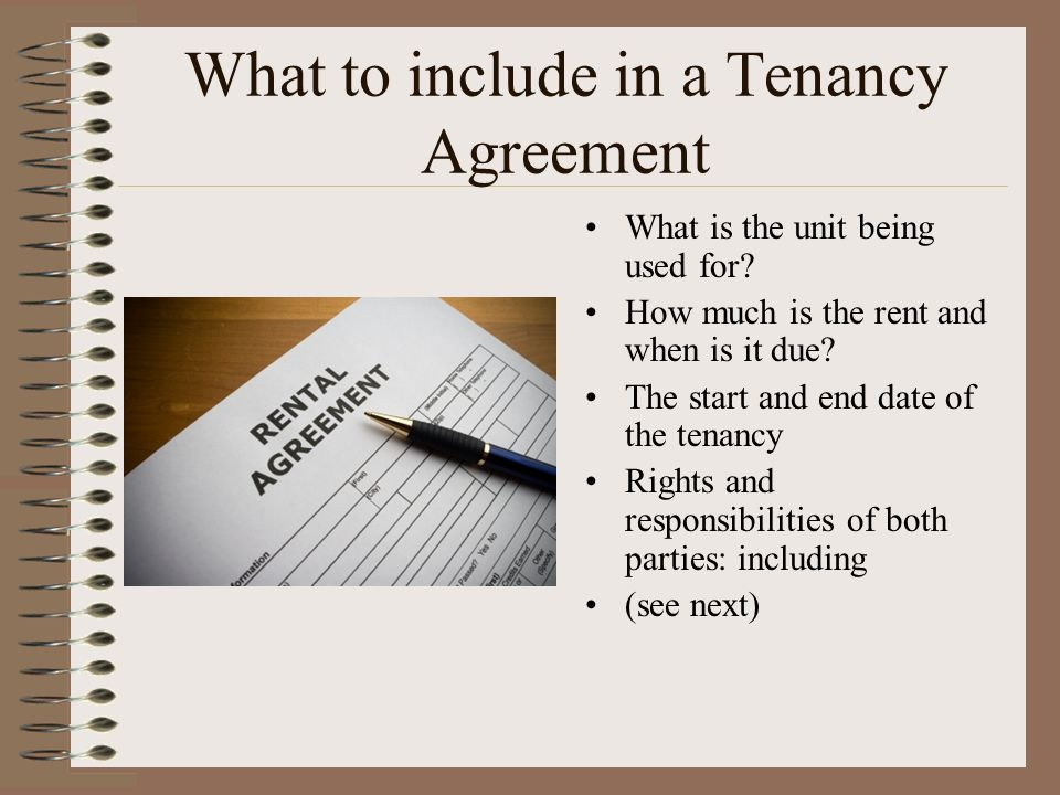 What to include in a Tenancy Agreement