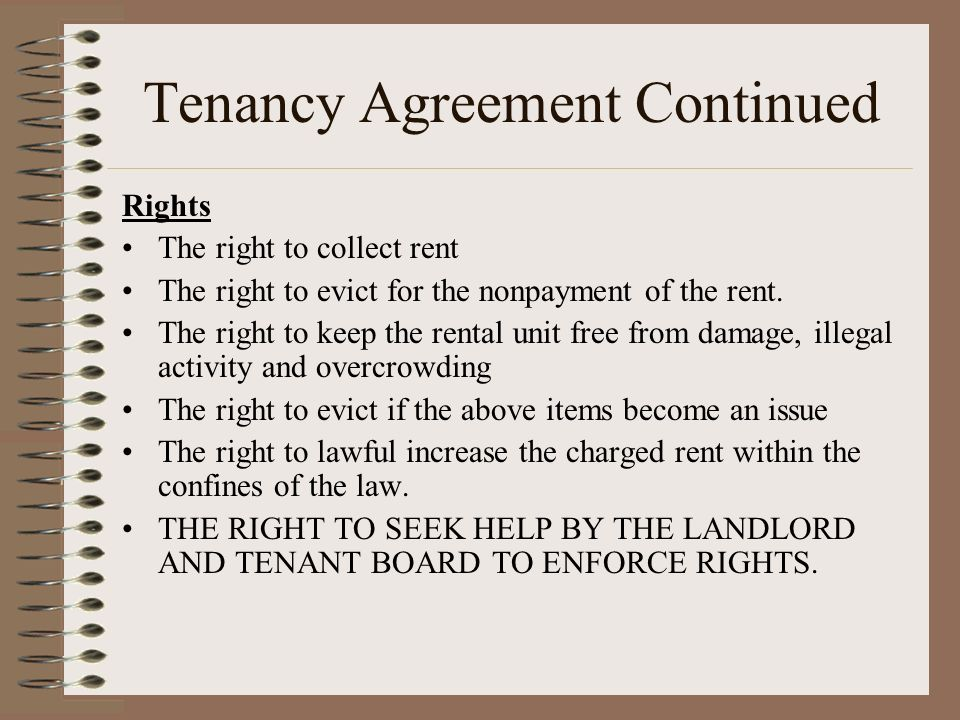 Tenancy Agreement Continued