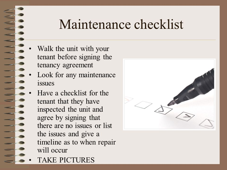 Maintenance checklist