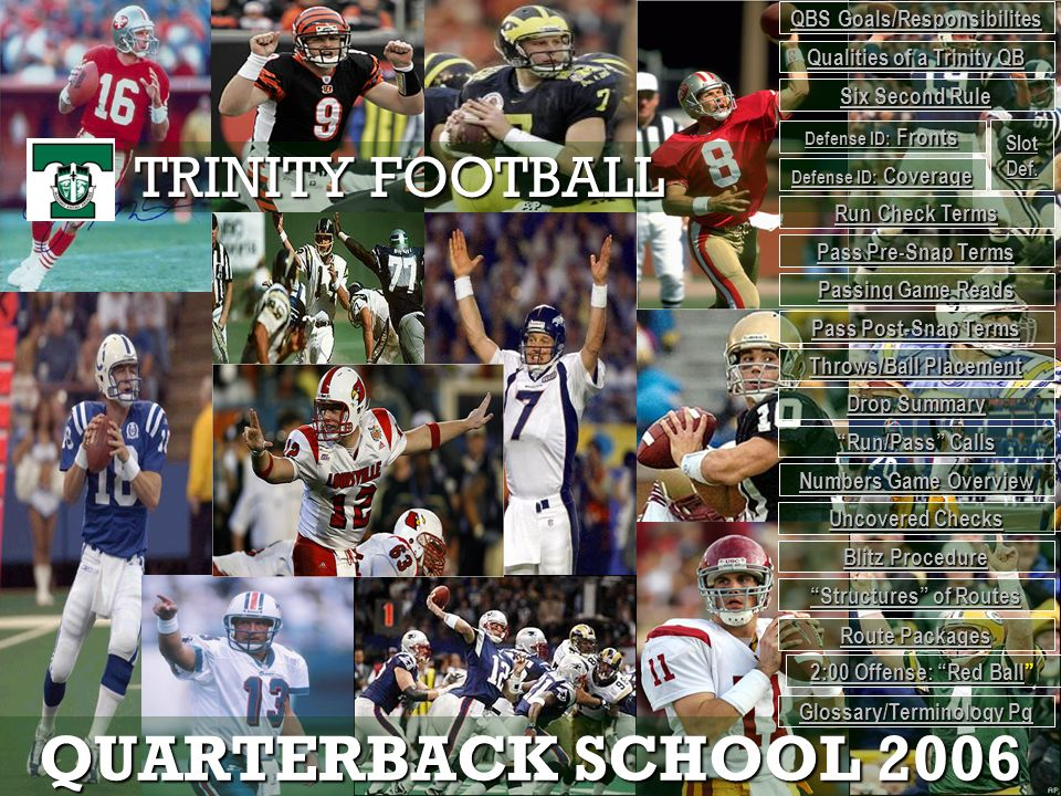 QUARTERBACK SCHOOL 2006 TRINITY FOOTBALL QBS Goals/Responsibilites