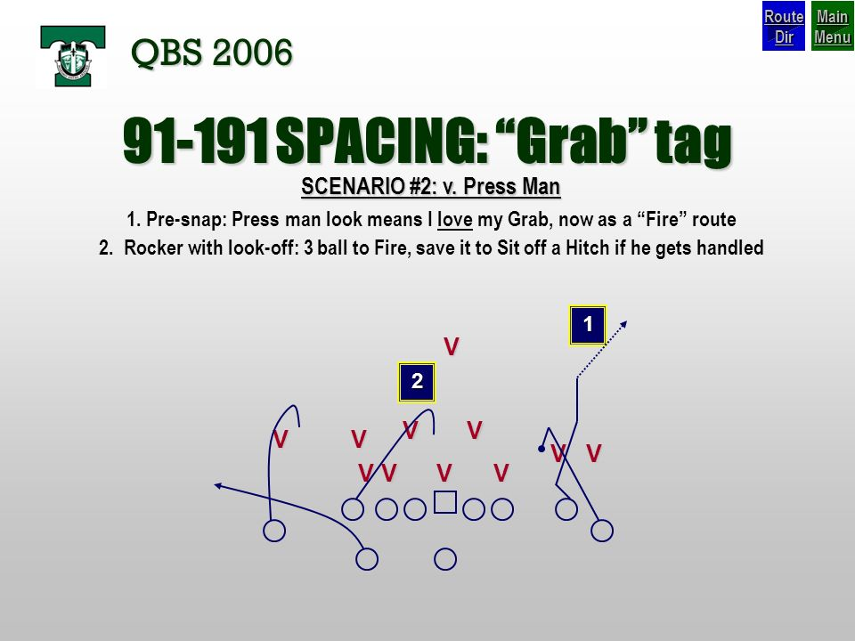 SPACING: Grab tag QBS 2006 SCENARIO #2: v. Press Man V V V V