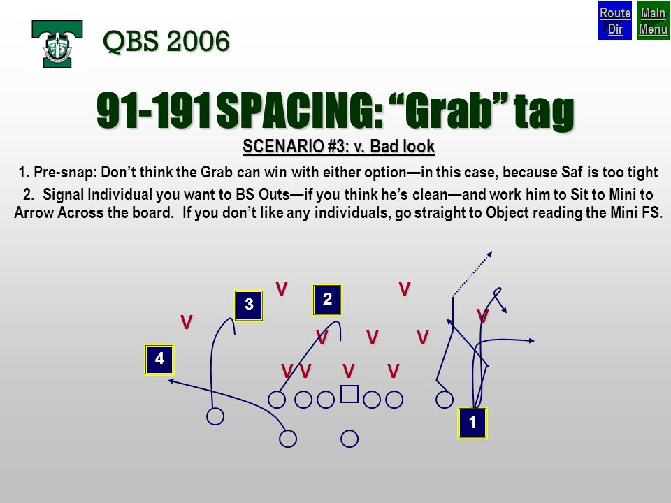 SPACING: Grab tag QBS 2006 SCENARIO #3: v. Bad look V V V V V
