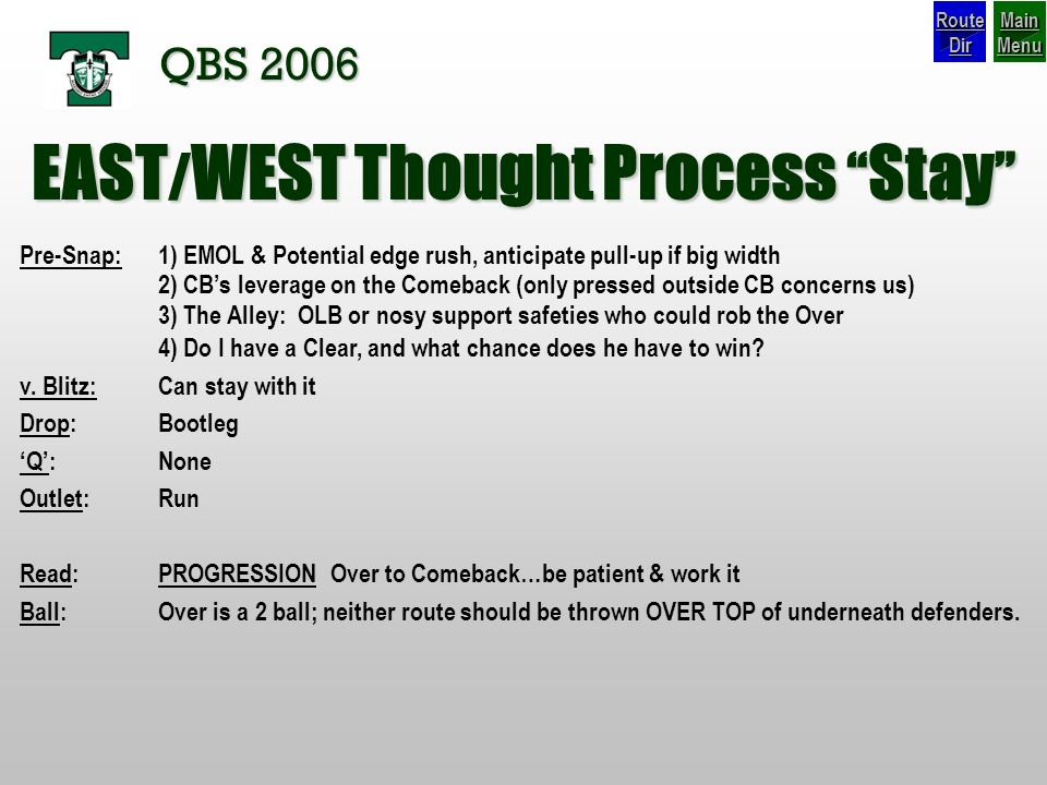 EAST/WEST Thought Process Stay