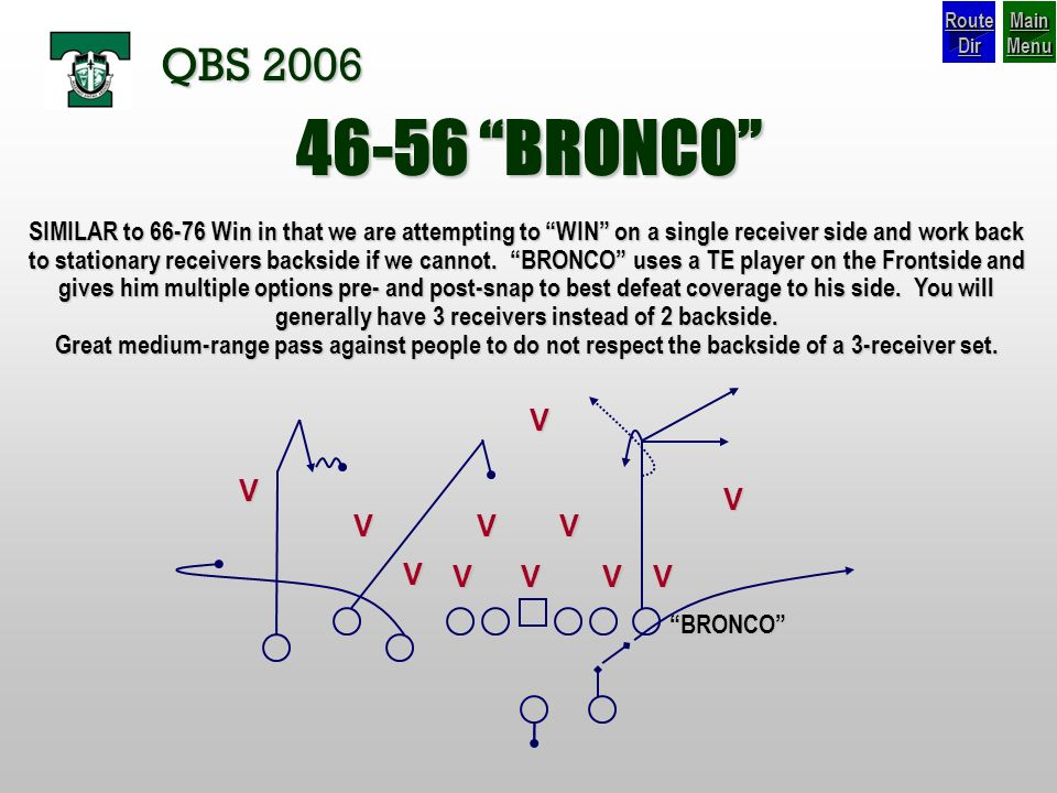 Route Dir Main Menu. QBS BRONCO