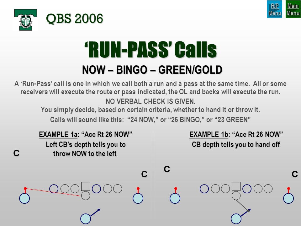 'RUN-PASS' Calls QBS 2006 NOW – BINGO – GREEN/GOLD C C C C