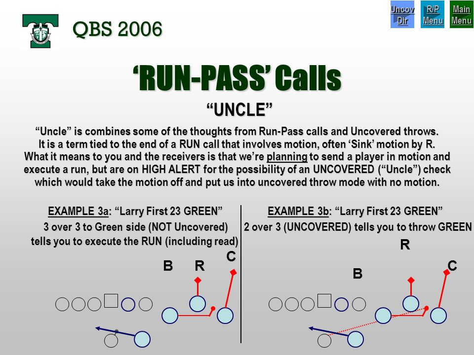 'RUN-PASS' Calls QBS 2006 UNCLE R C B R C B