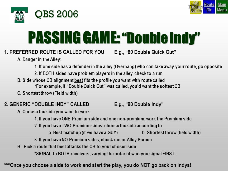 PASSING GAME: Double Indy