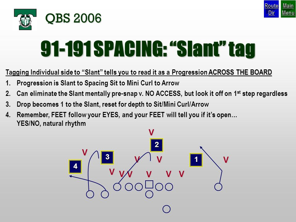 SPACING: Slant tag QBS 2006 V