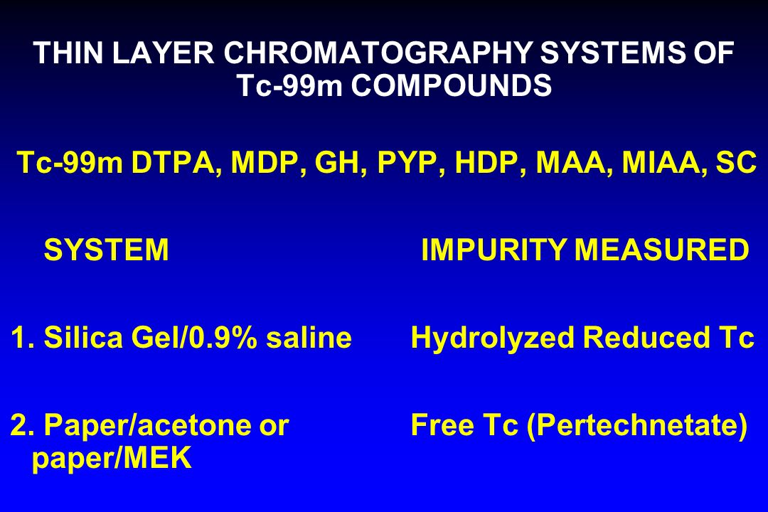 THIN LAYER CHROMATOGRAPHY SYSTEMS OF Tc-99m COMPOUNDS