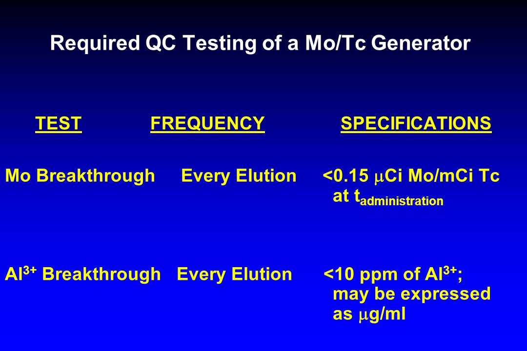 Required QC Testing of a Mo/Tc Generator