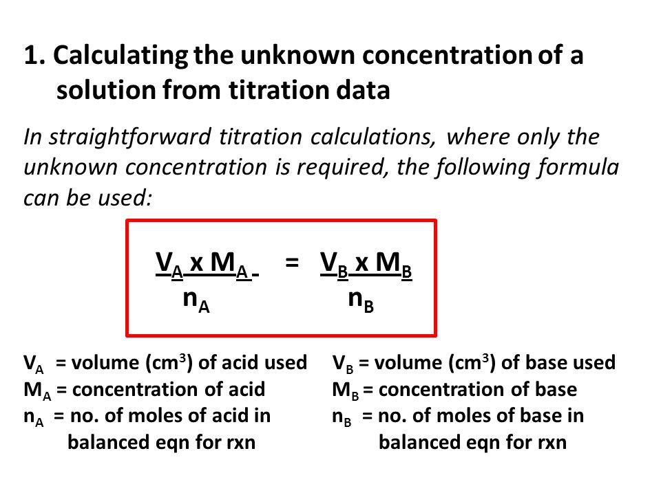 1. Calculating the unknown concentration of a
