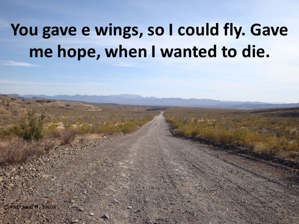 You gave e wings, so I could fly. Gave me hope, when I wanted to die.