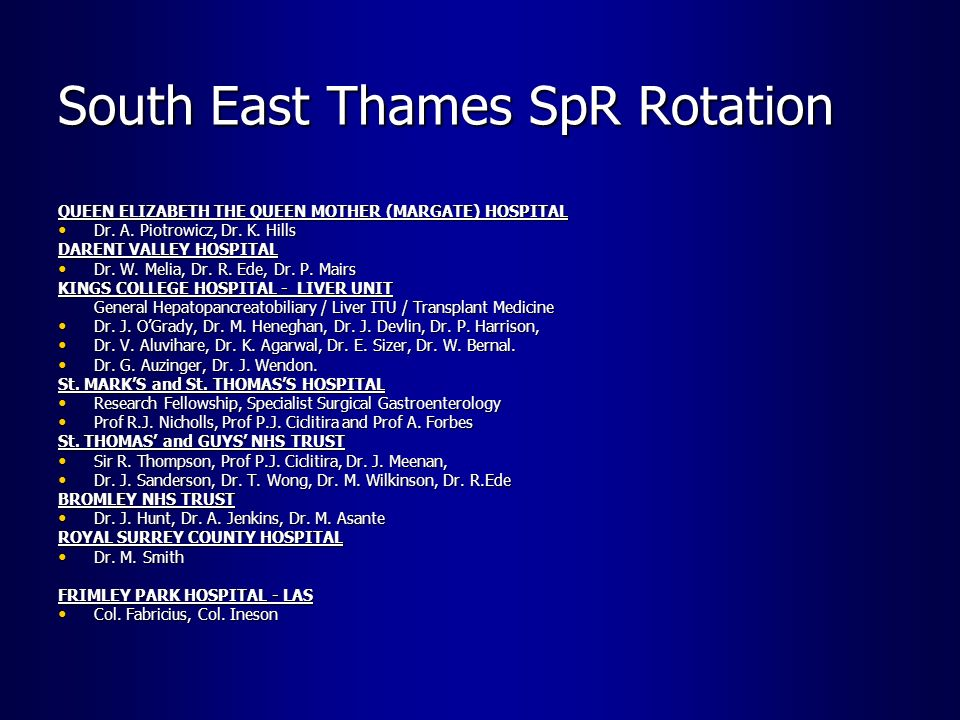 South East Thames SpR Rotation