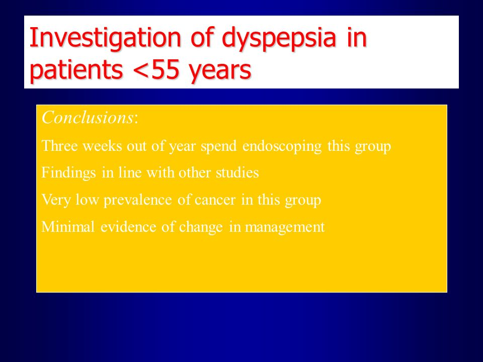 Investigation of dyspepsia in patients <55 years