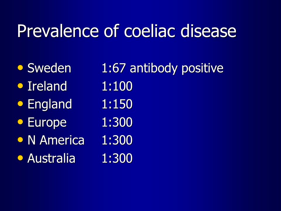 Prevalence of coeliac disease