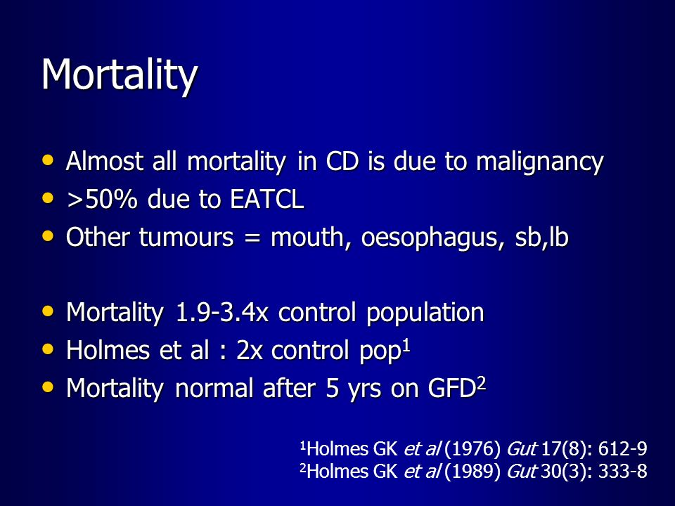 Mortality Almost all mortality in CD is due to malignancy