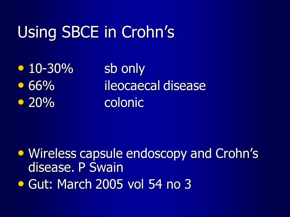 Using SBCE in Crohn's 10-30% sb only 66% ileocaecal disease