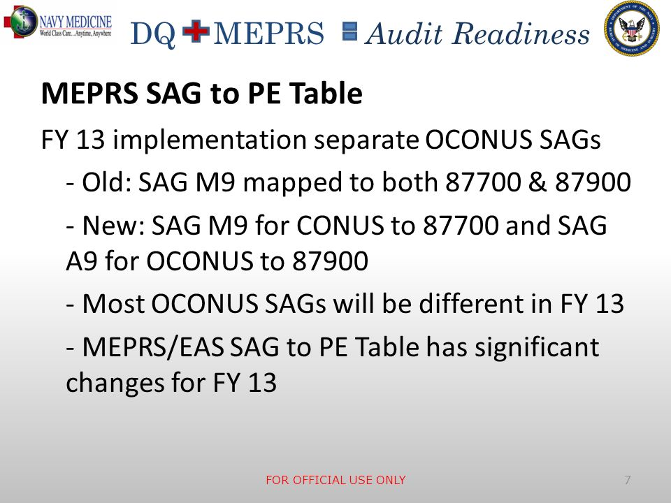 MEPRS SAG to PE Table