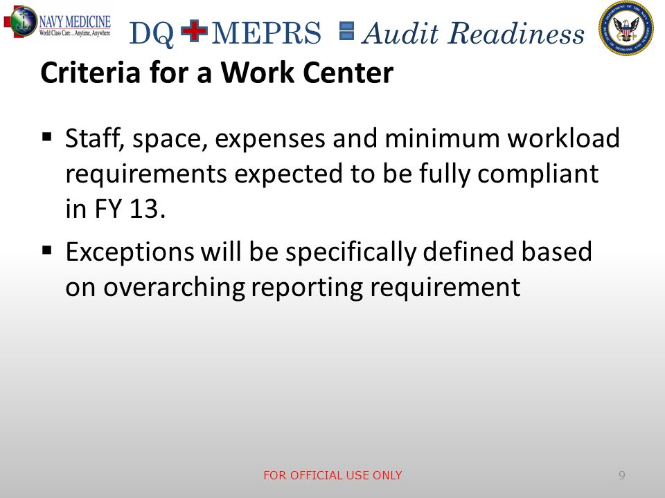 Criteria for a Work Center