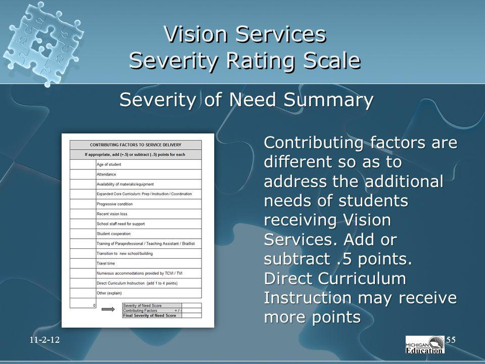 Vision Services Severity Rating Scale