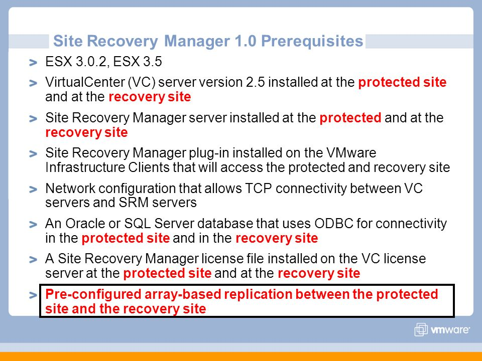 Site Recovery Manager 1.0 Prerequisites