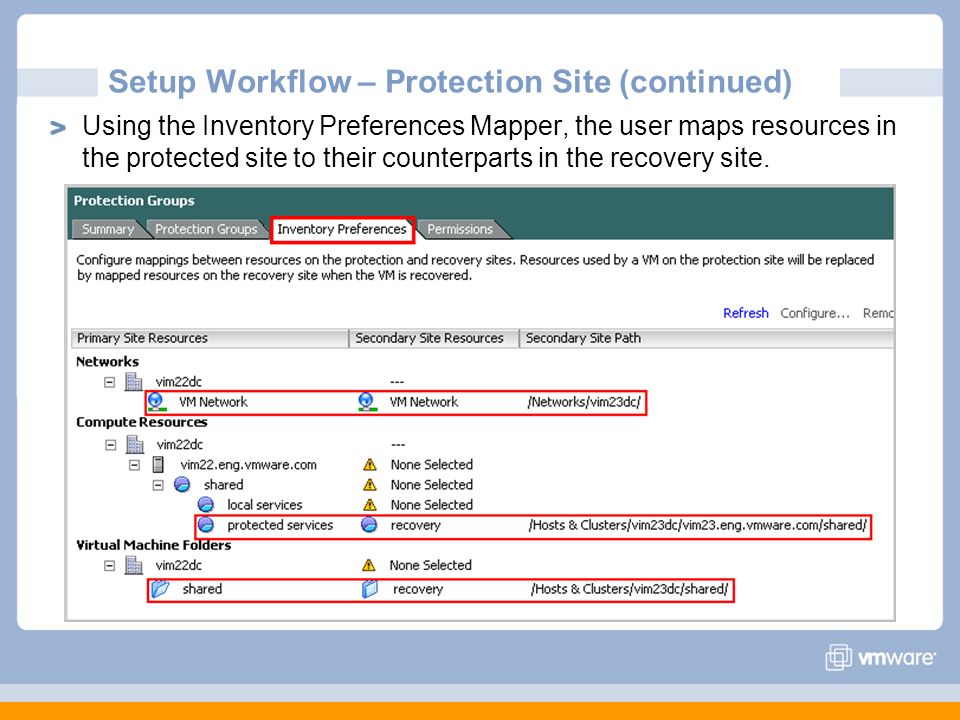 Setup Workflow – Protection Site (continued)
