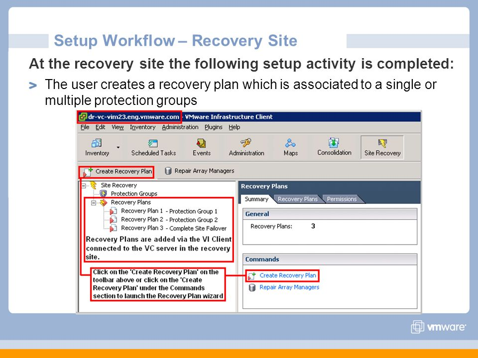 Setup Workflow – Recovery Site