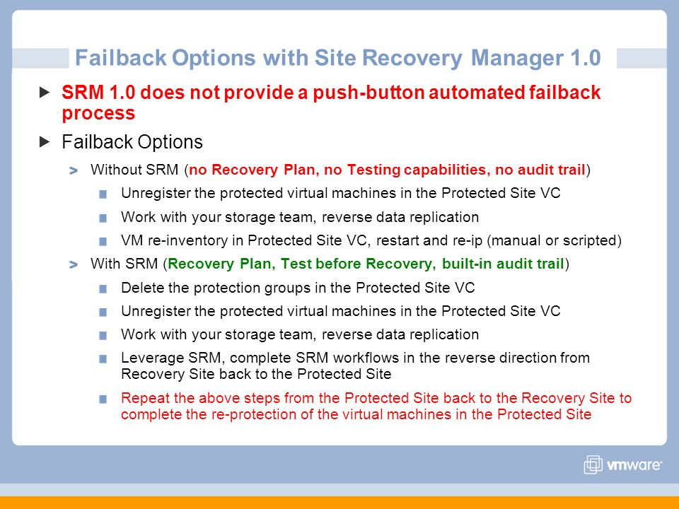 Failback Options with Site Recovery Manager 1.0