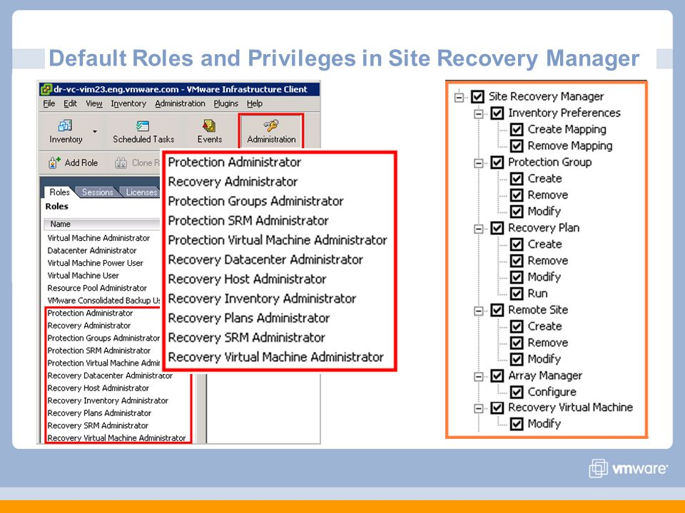 Default Roles and Privileges in Site Recovery Manager