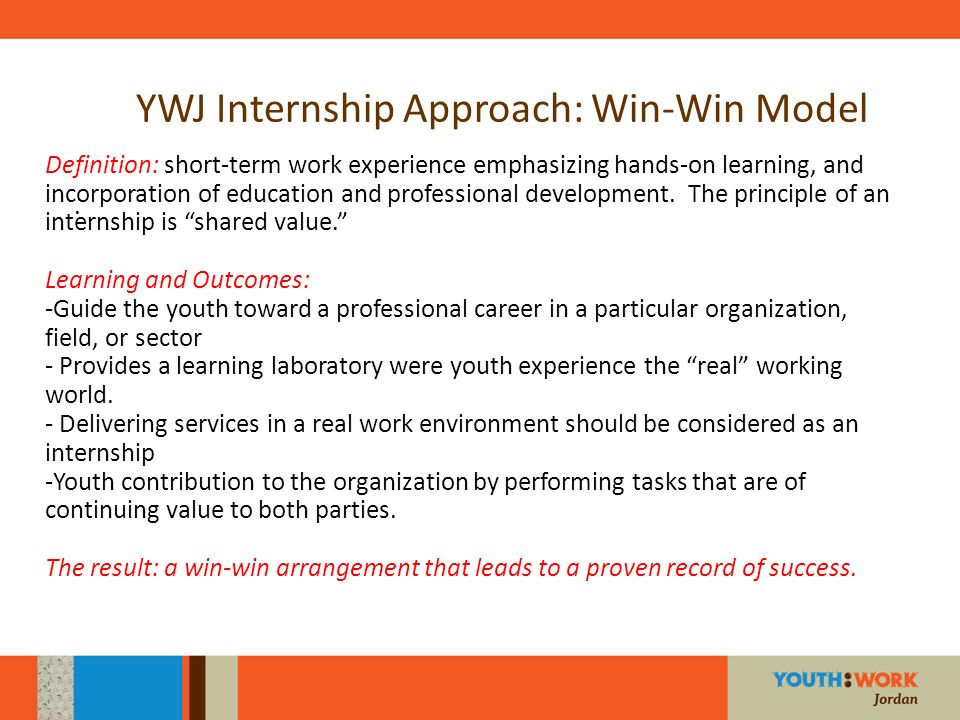 YWJ Internship Approach: Win-Win Model