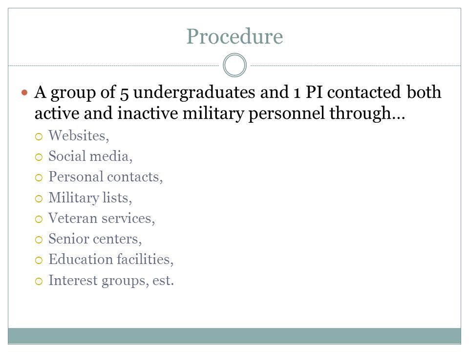 Procedure A group of 5 undergraduates and 1 PI contacted both active and inactive military personnel through…